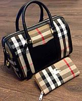 Женская большая клетчатая сумка Burberry, в двух цветах. Материал: эко кожа. Размер 33х27.