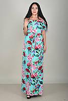 Повседневное женское платье в пол  с поясом и цветами