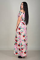 Женское персиковое платье-крестьянка в пол  с цветами и поясом