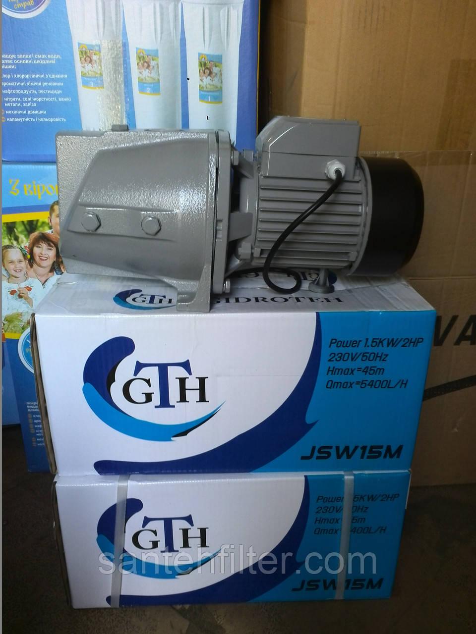 Насос JSW15M (1.5кВт) бытовой поверхностный самовсасывающий Гидротех (Gidroteh)