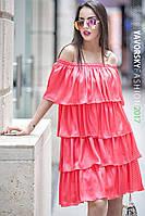 Платье Бьянка с рюшами из атлас-шелка цвет красный