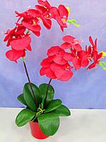 Орхидея красная в красном вазоне искусственная
