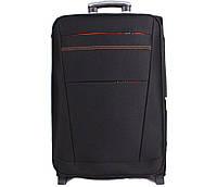 Надежный тканевый чемодан малый на 2-х колесах черный