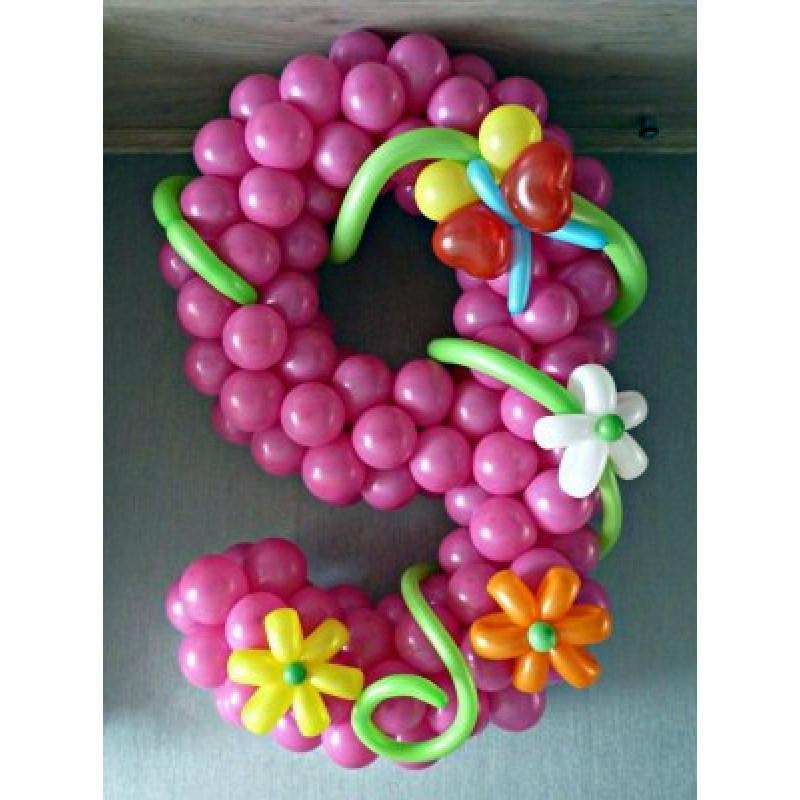 Цифра 9 из шаров латексных-композиция.