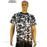 Футболка мужская К-01014, камуфляж - белая ночь, военная, кулир, хлопок, Bifabric