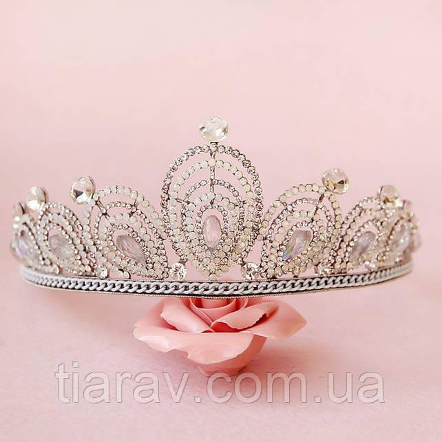 Диадема высокая корона АЛИСИЯ Тиара Виктория для волос свадебная диадема