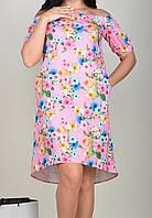 Модное летнее женское розовое платье-крестьянка по колено