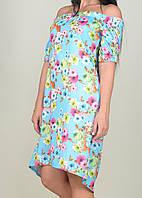 Легкое летнее женское голубое платье-крестьянка с цветами