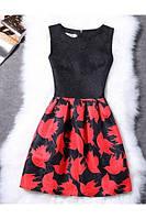 Женское летнее платье с красным рисунком  РМ7314