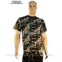 Футболка мужская К-01013, камуфляж, пиксель, военная, кулир, хлопок, Bifabric