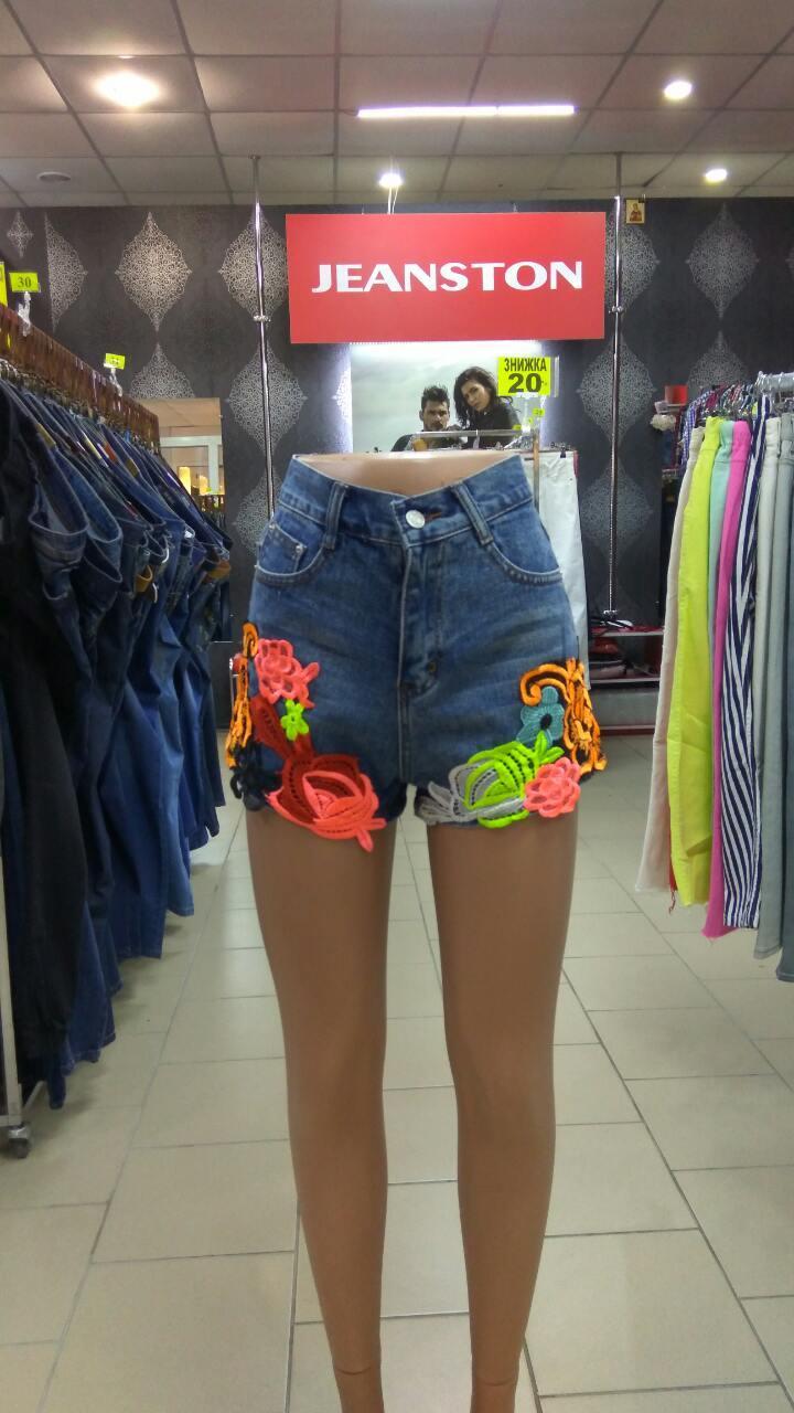 Джинсовые шорты американка цветы вышивка M, L, XL - Интернет - магазин JEANSTON   в Полтавской области