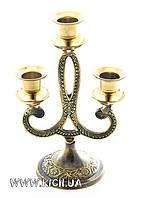 Подсвечник латунный на три свечи 18,5 см