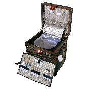 Корзина для пикника с наполнением на 4 персоны, темная лоза, термоизольована.Розмир: 35 * 31,25 * 37,5см