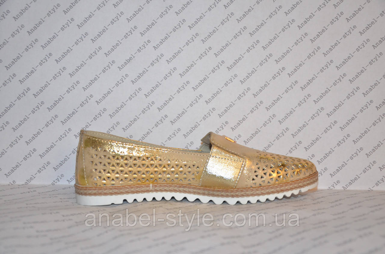 Мокасини жіночі модні натуральна шкіра золотистого кольору зі вставкою золотий