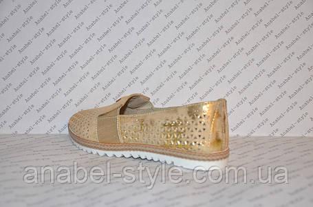 Мокасини жіночі модні натуральна шкіра золотистого кольору зі вставкою золотий, фото 2