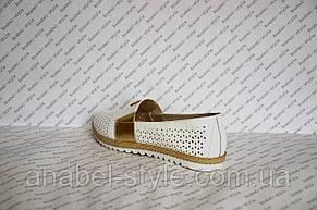 Мокасины женские модные натуральная кожа белого цвета со вставкой золотой, фото 3