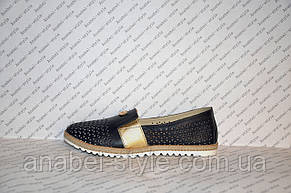 Мокасины женские модные натуральная кожа темно-синего цвета со вставкой золотой, фото 2