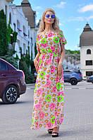Платье-фонарик в пол на резинках с цветами 242.2 (ВИВ)