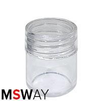 Тара для декора пластик - баночка-закрутка малая бочонок прозрачная 38965