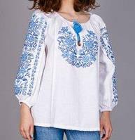 Красивая женская блуза с орнаментом голубого цвета, фото 1