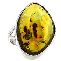Янтарь Карибский зеленый, серебро 925, кольцо, 522КЯ