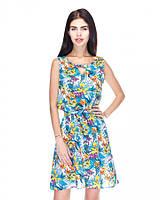 Яркое модное летнее стильное платье с цветочным принтом