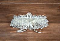 Свадебная подвязка невесты ажурная цвета айвори