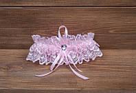 Свадебная подвязка невесты ажурная розовая