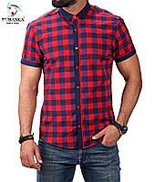 Рубашка в сине-красную клетку