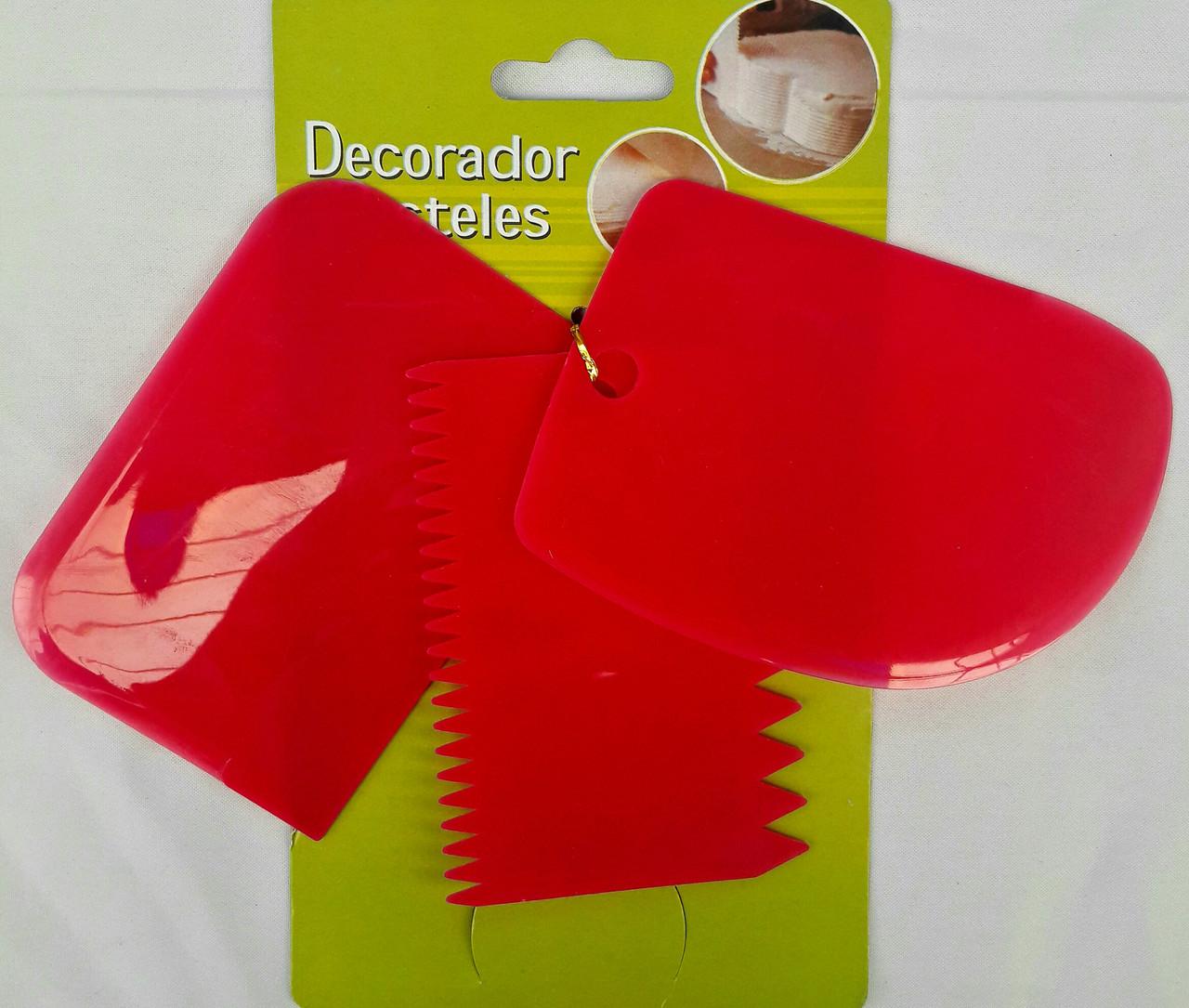 Набор пластиковых кондитерских шпателей для работы с кремом