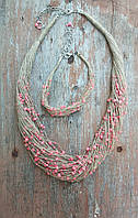 Колье и браслет из натурального льна и бусинок.