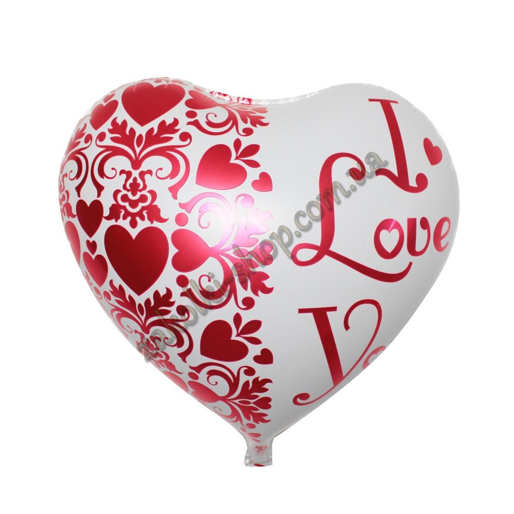 """Фольгированные воздушные шары, форма:сердце, """"я тебя люблю"""" 18 дюймов/45 см, 1 штука"""