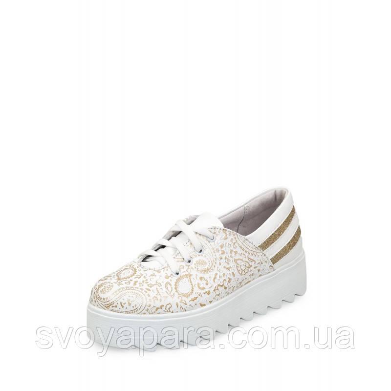 Туфли женские белого цвета из натуральной кожи на термополиэстеровой подошве
