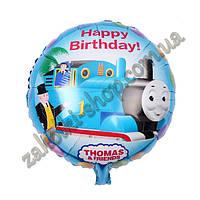 Фольгированные воздушные шары, форма:круг Паравозик Томас, 18 дюймов/45 см, 1 штука