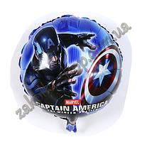 Фольгированные воздушные шары, форма:круг, капитан Америка, 18 дюймов/45 см, 1 штука