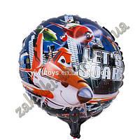 Фольгированные воздушные шары, форма:круг, Самолетики, 18 дюймов/45 см, 1 штука