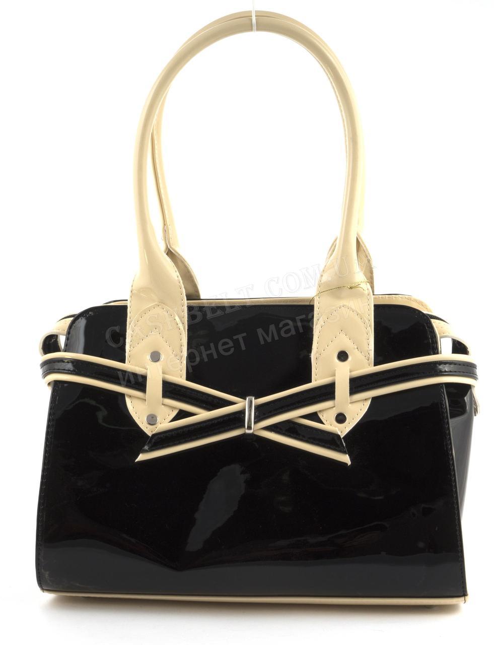4a19f90637a8 Каркасная стильная качественная лаковая двухцветная сумка ZGARDA art. 18-14  черная/бежевая Украина