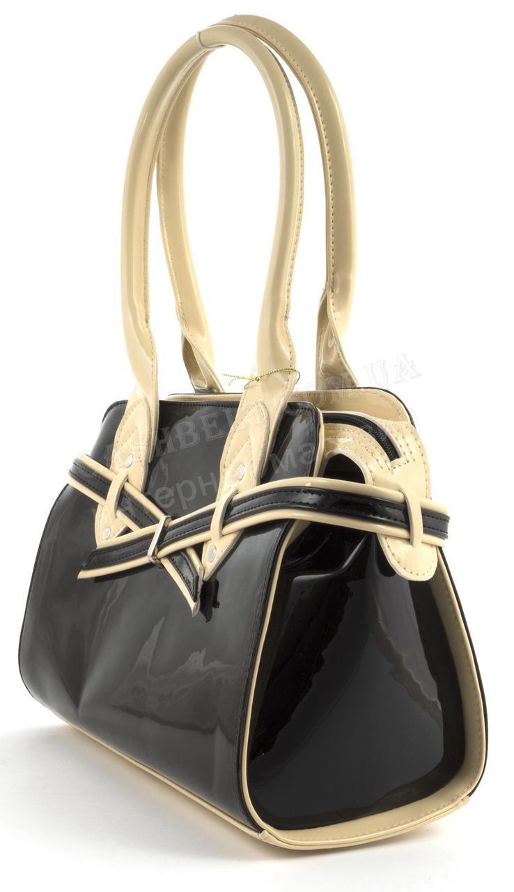 29e31ecd7076 Каркасная стильная качественная лаковая двухцветная сумка ZGARDA art. 18-14  черная/бежевая Украина ...