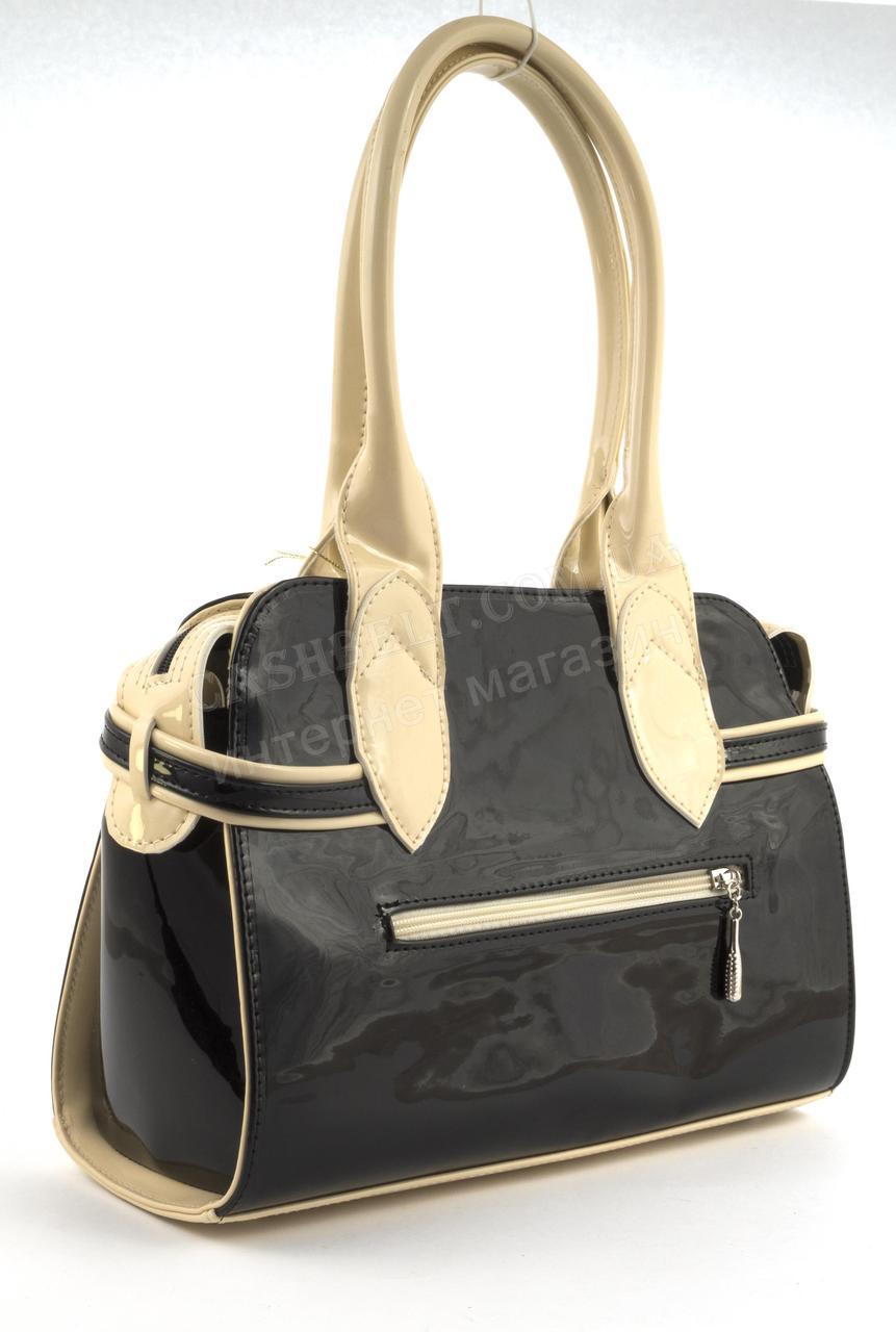 1efbbd99e01f ... Каркасная стильная качественная лаковая двухцветная сумка ZGARDA art.  18-14 черная/бежевая Украина ...