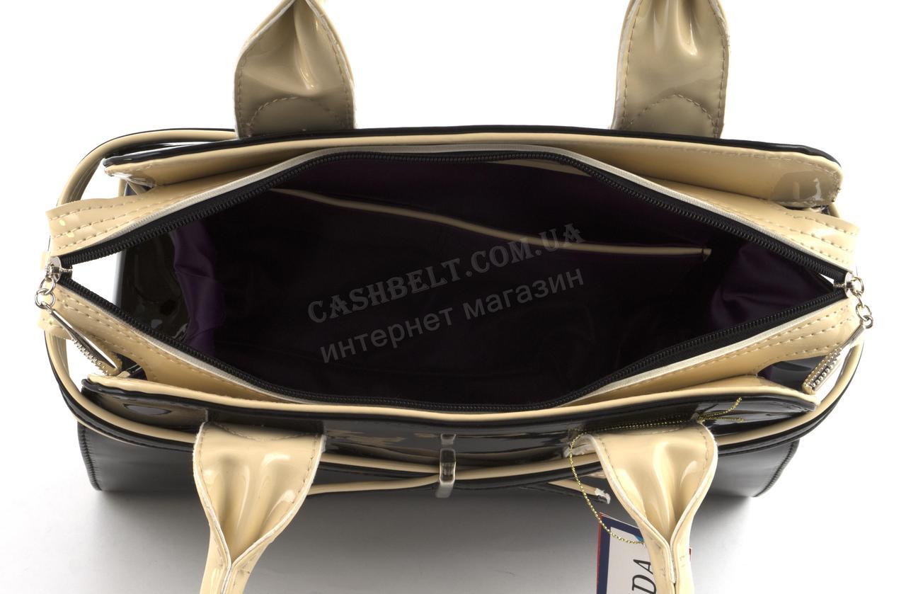 c6bd83711967 ... Каркасная стильная качественная лаковая двухцветная сумка ZGARDA art.  18-14 черная/бежевая Украина