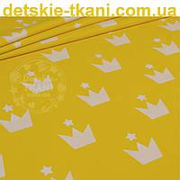 """Бязь польская """"Белые короны со звёздочкой"""" на жёлтом фоне (№ 812а)"""