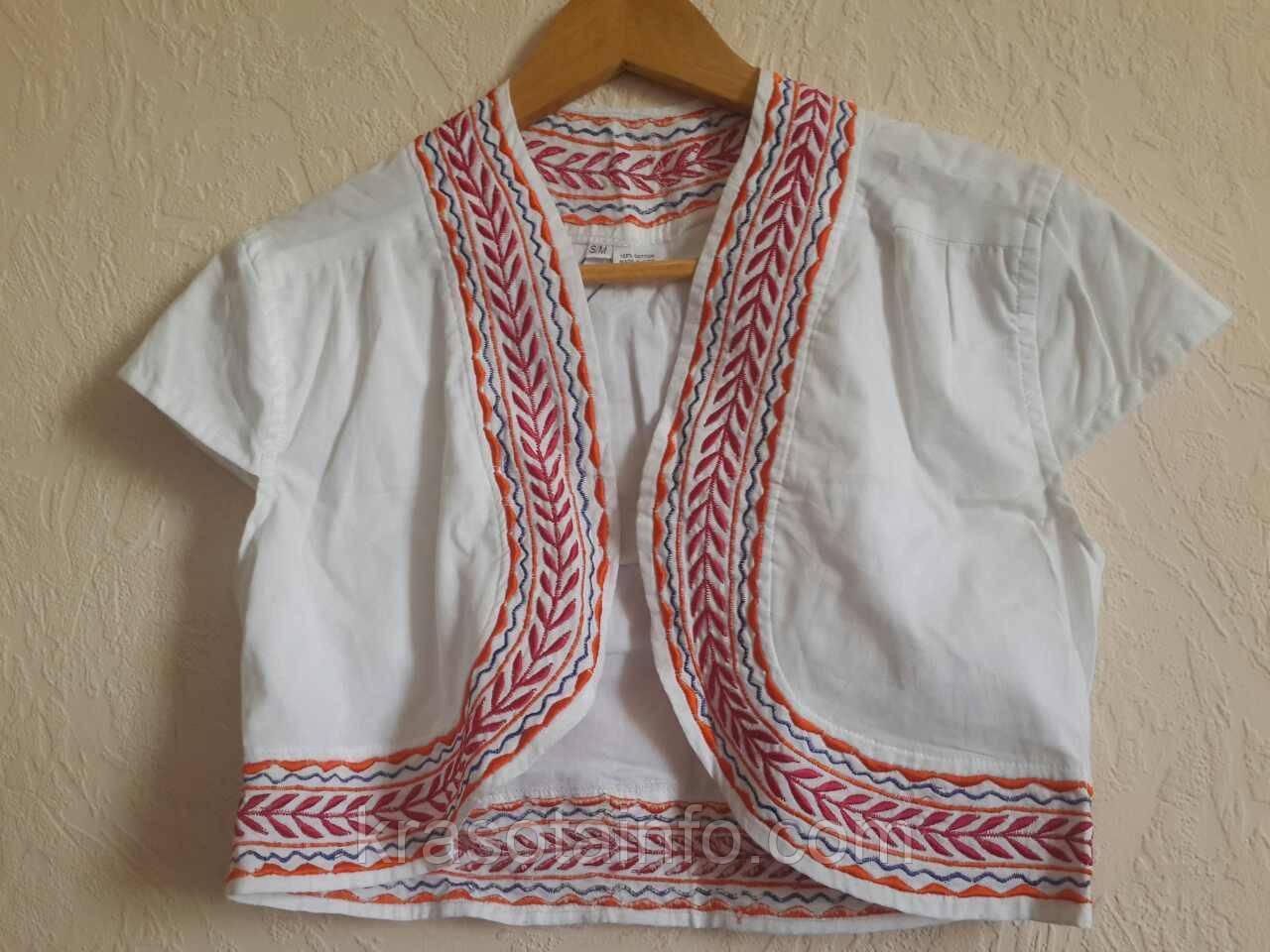 Болеро, вышивка, этнические мотивы, белое, 100% хлопок, Индия.