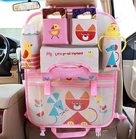 Органайзер в автомобиль детский Кот  Розовый (04008)