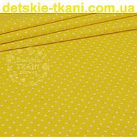 Ткань хлопковая с горошком 4 мм на жёлтом фоне (№ 823)