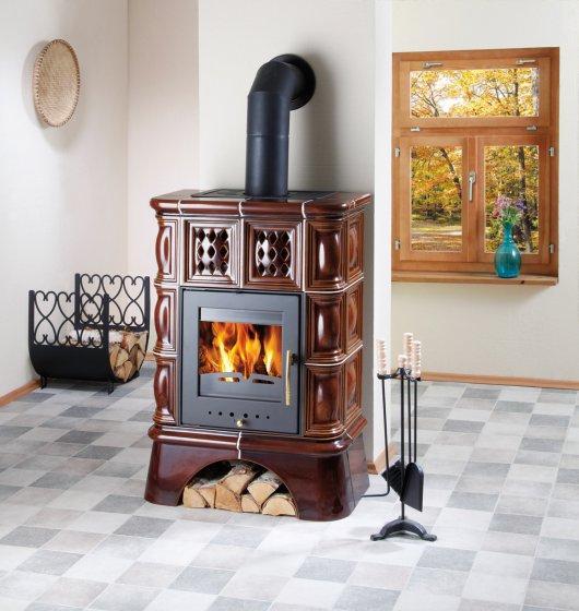 Изразцовая классическая печь Haas+Sohn Treviso 2 коричневая с кафельной ножкой