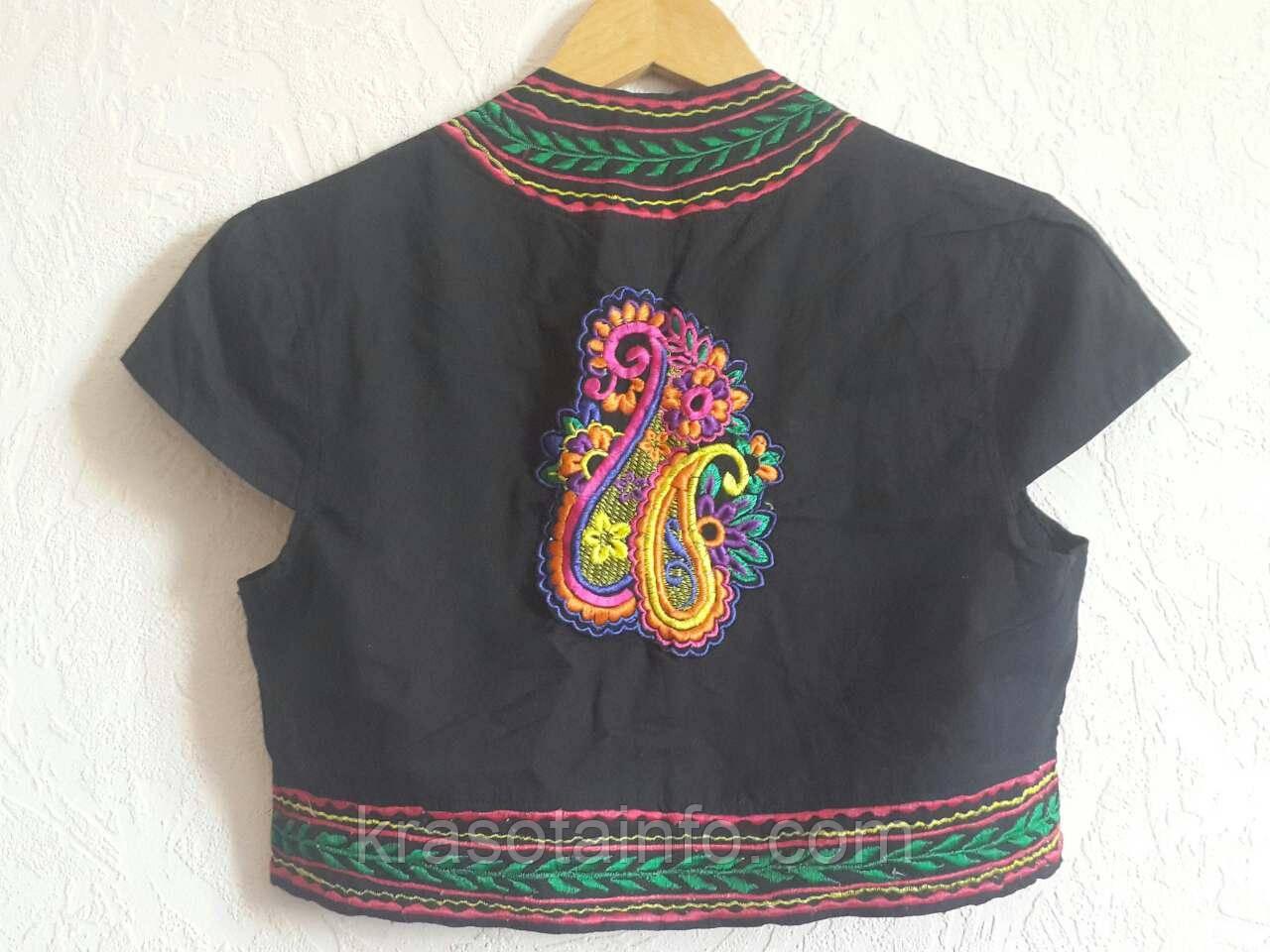 Болеро, вышивка, этнические мотивы, черное, 100% хлопок, Индия. Размер S/M