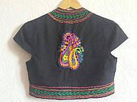 Болеро, вышивка, этнические мотивы, черное, 100% хлопок, Индия. Размер S/M, фото 1