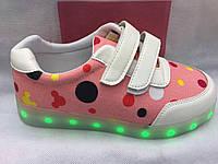 Модные  Led кроссовки для девочки 0107/51