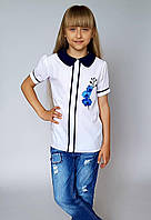 Школьная блузка для девочек белого цвета