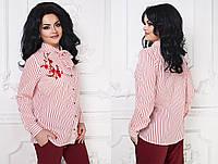 Блуза шифоновая с вышивкой   48+